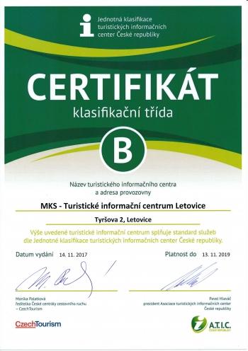 """Certifikát """"Jednotná klasifikace TIC ČR"""""""